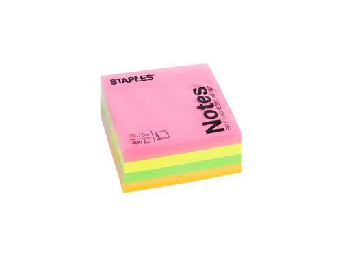 Notes kub staples 76x76 mm rainbow 400bl
